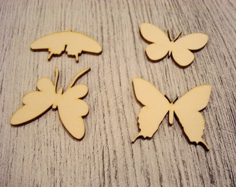 Set of 4 butterflies 1238 embellishment wooden creations