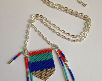 Silver Pendant Necklace turquoise, blue, red and silver peyote