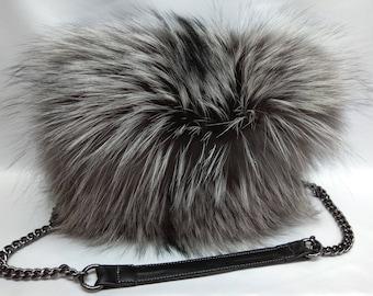 Silver Fox Fur Shoulder Bag