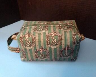 Slytherin makeup bag with handle