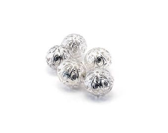 Set of 5 beads filigree lace silver metal