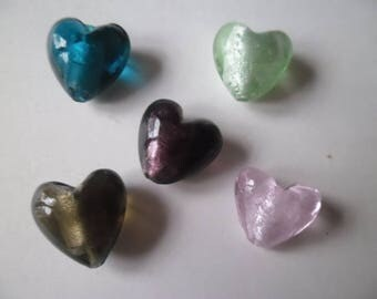 1 20 lampwork glass heart beads x 20 mm