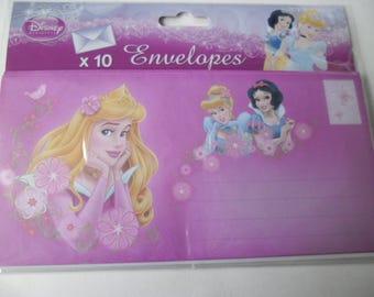 10 large envelopes depicting princesses 21.5 x 10.5 cm
