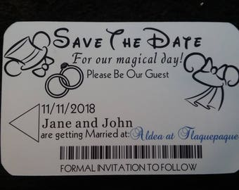 Disney Ticket Inspired Save the Date