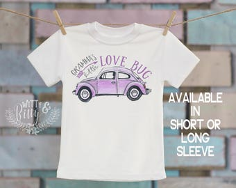 Gramma's Little Love Bug Kids Shirt in Purple, Gifts from Nana, Gifts for Grandchild, VW Beetle Kids Shirt, Boho Kids Shirt - T279G