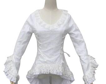 Downton Abbey Victorian Vintage Women White Blouse Top Lace Theatre Bodice Witch Halloween Costume  Renaissance  Cotton Blouse