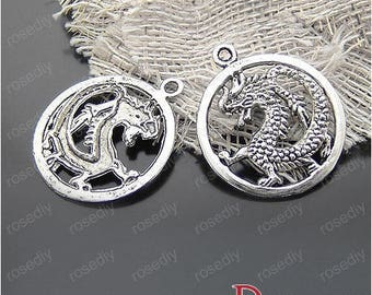 5 charms antique silver Chinese dragon E20119 32MM