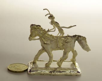 Ant riding a horse gift - Miniature ant,Amazing horse,Sports riding, animals  silver plated miniature,gift for her him freind loveA gift