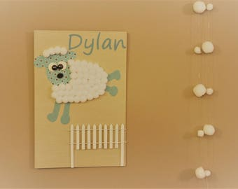 Table name for child's room, funny sheep Pompon
