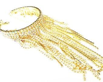 Bracelet / Cuff / Bangle / Crystal / Gold Rhinestone / Love Bracelet / Diamante Fashionable Crystal Bracelet / Celebrity Glam Rock Chic /