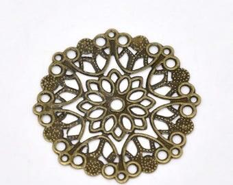 CT83 - 5 prints round openwork bronze metal motif flower 35mm