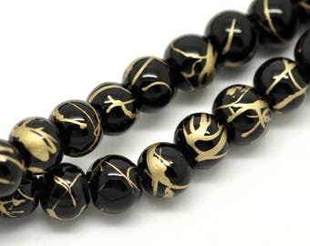 PV19 - Set of 50 6mm black glass beads Crackle