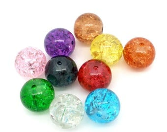 PV75 - Set of 20 colorful, cracked verre10mm beads