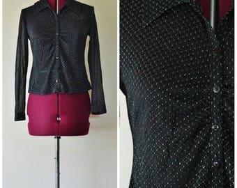 1970's vintage sheer black silver button down shirt blouse  S M