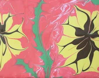 "Acrylbild ""Two Spiders"", 20 x 10 cm, abstrakt, Fließtechnik"