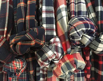 4 Bridesmaid Flannels Mismatched Men's Red Plaid Shirts Red White Blue Bridal Party Flannel Monogrammed Bachelorette Party Shirts Flannel