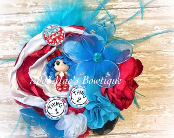 Dr Seuss Thing 1 Thing 2 inspired satin flower