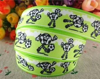 308 - Ribbon - grosgrain - 25 mm sold by 50 CM - Soccer ribbon soccer