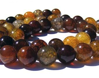 8 agates veines de dragons de 8 mm perles pierre jaune ambré.