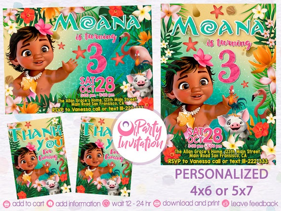 Baby Moana invitation and free thank you tags Baby Moana birthday