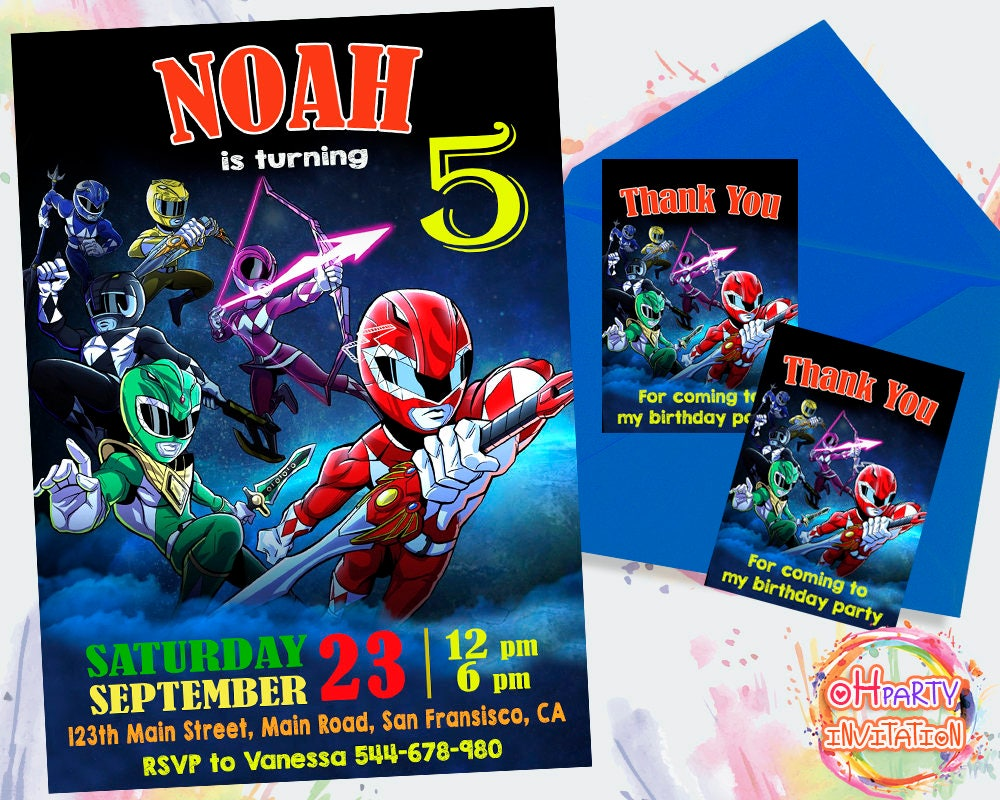 Power Ranger Party Invitations pictures thank you cards – Power Rangers Birthday Invitations