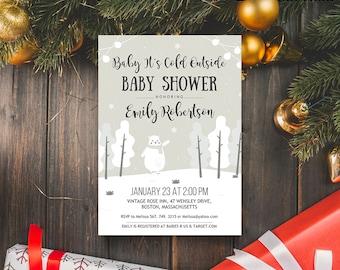 Winter Baby Shower Invitation Polar Bear Invitation Woodland Baby Shower Printable Invite Template Baby Its Cold Outside Invitation Editable