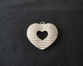 Large silver metal heart charm