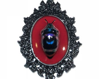 Pretty Little Jeweltone and Black Beetle in Black Gothic Rose Pendant with Necklace