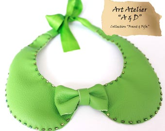 Col claudine bright amoviable green leather