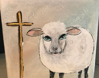 Lamb Cross 6x6 acrylic painting gallery wrapped canvas