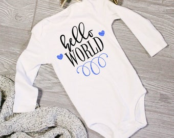 Hello World Gender Birth Announcement | Pregnancy Anouncement Body Suit | Christmas Gift for Grandmother's | New Grandma | Coming Soon Baby