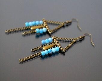 Blue agate dangling earrings.