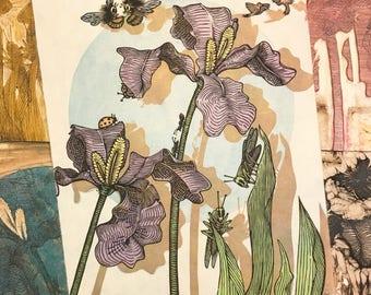 SPRING Woodcut Print (IRISES)