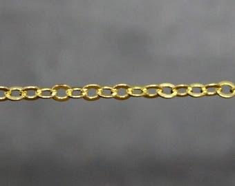 x1 mètre de chaîne 3.5x3 mm  maillon soudé en laiton doré