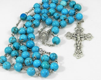 Turquoise Bead Rosary (#41602)