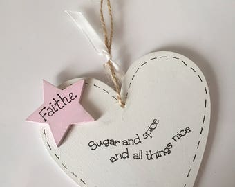 Personalised baby heart plaque