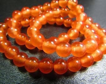 Set of 10 Jade beads-orange