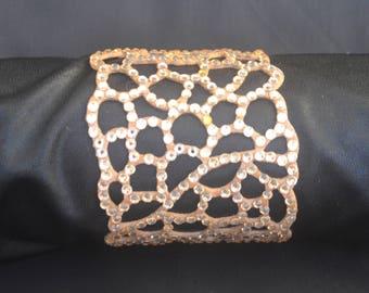 Stunning laser cut rhinestone cuff bracelet