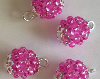 4 pendants seed beads (2mm) silver lined fuchsia
