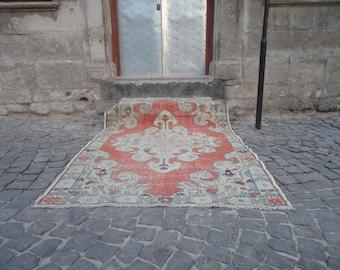 Oushak rug,Area rug,boho rug,living room rug,Turkish vintage rug,hand woven wool rug,muted color rug,85'' x 54''