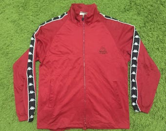 Vintage Kappa track jacket striped big logo embroidered Red Size M Made in Japan Excellent condition