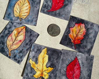 Set of 6 Prints of Fall Leaves