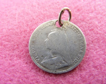 H) Vintage Sterling Silver Charm Victorian love token 3 pence coin with EWM initials
