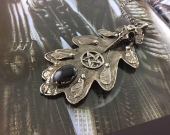 Oak Leaf Pentacle Pendant - Antique Nickel - Cat No 891