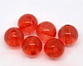 set of 10 round acrylic beads 8 mm