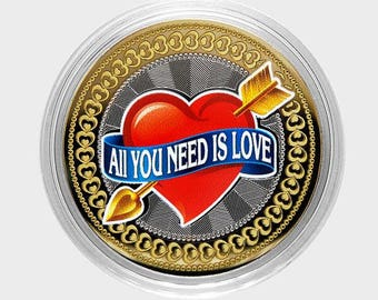 "Coin 10 rubles ""All you need is Love"", Russia , color, in capsules,UNC."