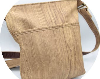 Crossbody Bag - Light Brown, Woodgrain, Faux Leather, Handmade, Handcrafted