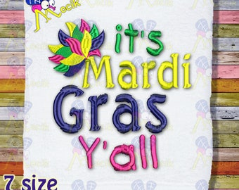 It's Mardi Gras Y'all Embroidery Design Machine Embroidery Pattern