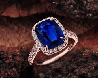 Blue Sapphire Halo Engagement Ring Rose Gold, Lab Grown Blue Sapphire Engagement Ring, Rose Gold Engagement Ring, Sapphire Rose Gold Ring