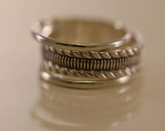 Sterling Silver Classic Ribbed Pattern 3-Ring Set, Sterling Silver Band Ring, Solid Silver Rings, Classic Silver Bands